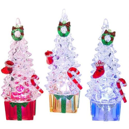 LED Christmas Trees with Parcels - Set of 3